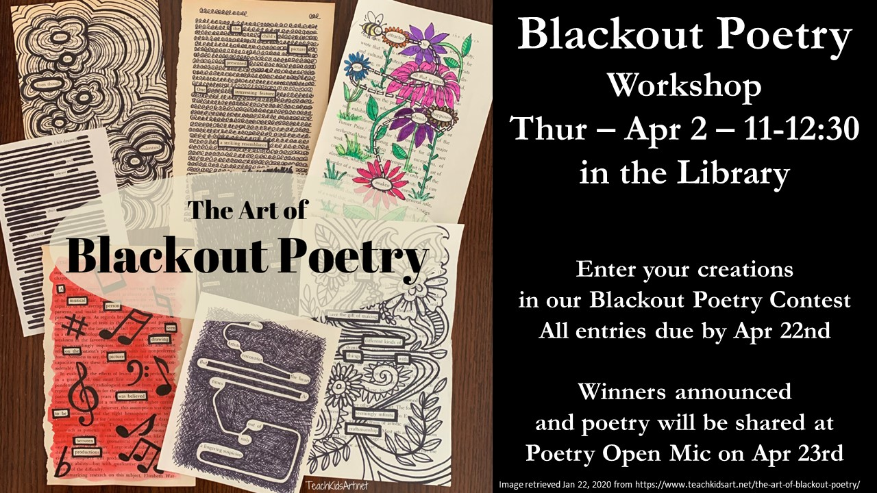 Blackout Poetry Workshop -- Del Rio -- 11-12:30 -- Thur Apr 2